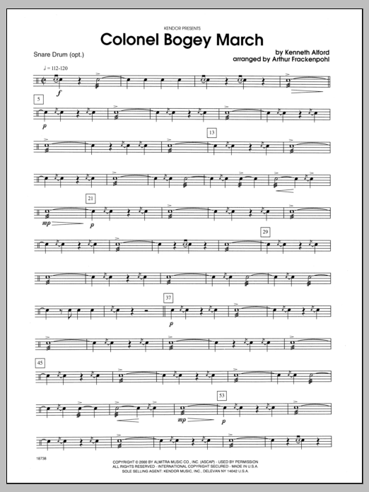 Colonel Bogey March - Snare Drum Sheet Music