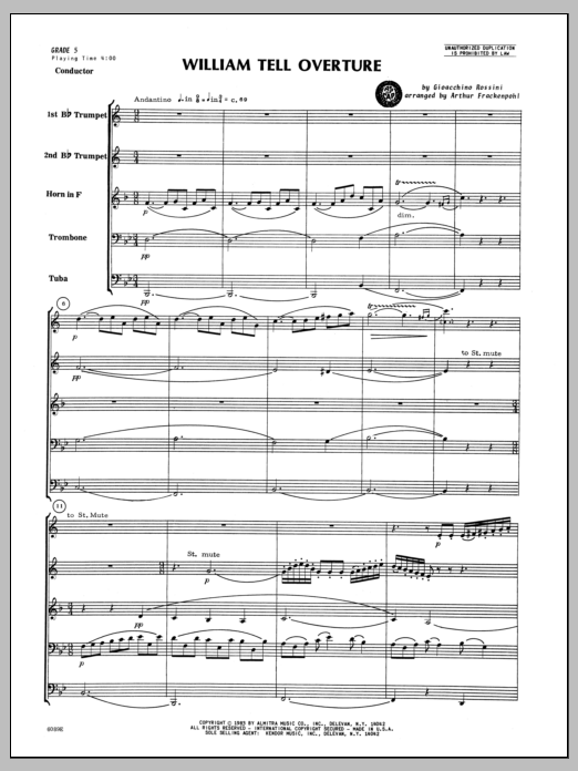 William Tell Overture (COMPLETE) sheet music for brass quintet by Arthur Frackenpohl and Gioacchino Rossini. Score Image Preview.