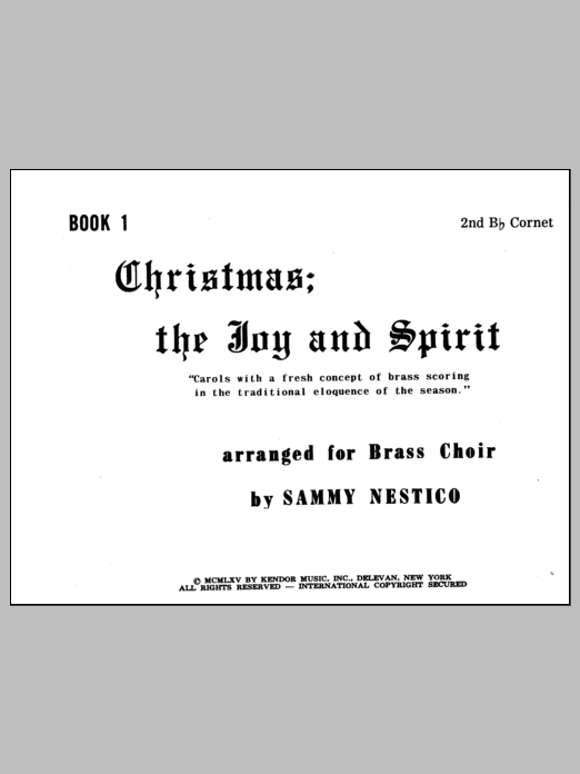 Christmas; The Joy & Spirit - Book 1/2nd Cornet Partition Digitale
