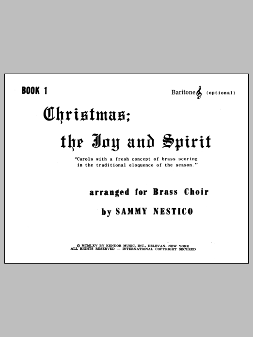Christmas; The Joy & Spirit - Book 1/Baritone TC (opt.) Sheet Music