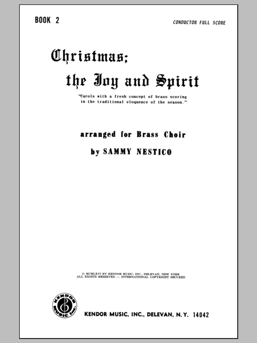 Christmas; The Joy & Spirit- Book 2/Full Score Sheet Music