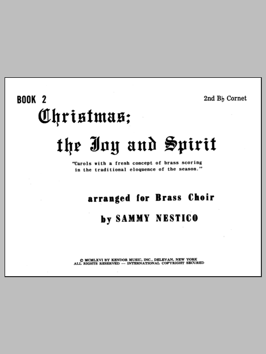 Christmas; The Joy & Spirit - Book 2/2nd Cornet Sheet Music