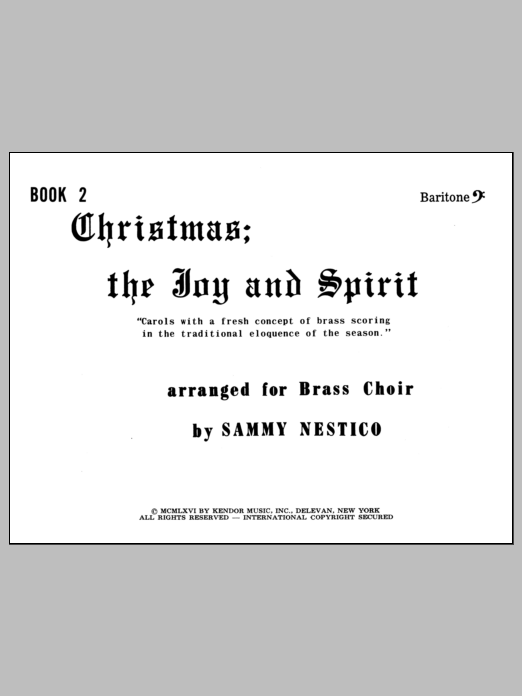 Christmas; The Joy & Spirit - Book 2/Baritone BC Sheet Music