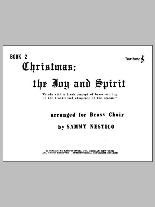 Christmas; The Joy & Spirit - Book 2/Baritone TC Sheet Music