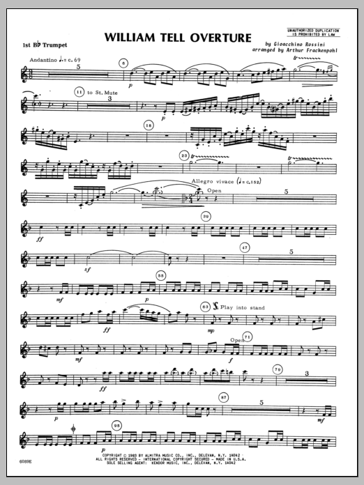 William Tell Overture - 1st Bb Trumpet Sheet Music