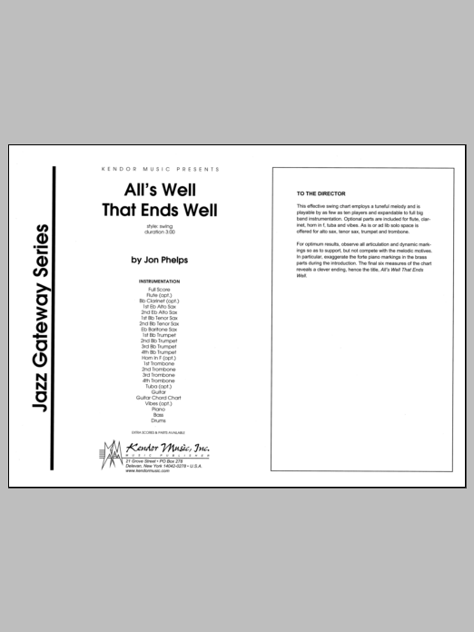 All's Well That Ends Well (COMPLETE) sheet music for jazz band by Phelps. Score Image Preview.