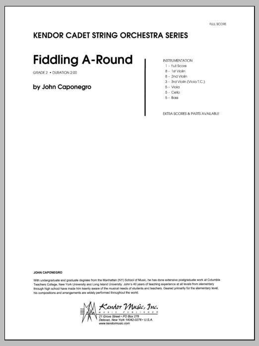 Fiddling A-Round (COMPLETE) sheet music for orchestra by Caponegro. Score Image Preview.