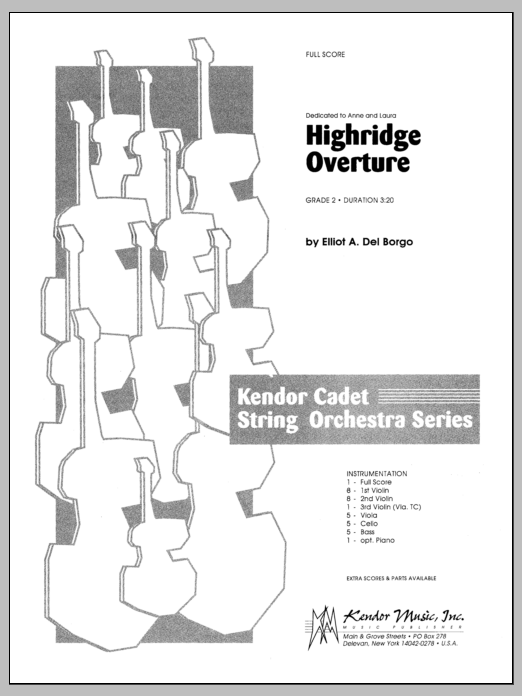 Highridge Overture (COMPLETE) sheet music for orchestra by Del Borgo. Score Image Preview.