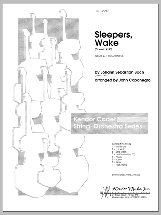 Sleepers, Wake (Cantata #140) (COMPLETE) sheet music for orchestra by Johann Sebastian Bach and Caponegro. Score Image Preview.