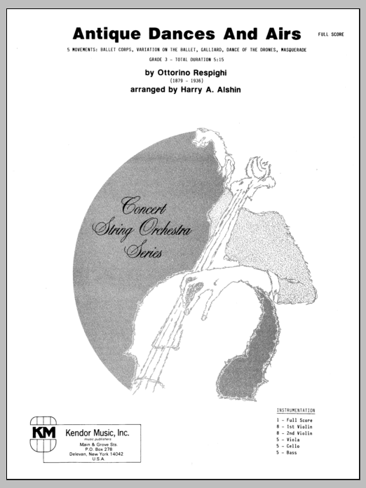 Antique Dances And Airs (COMPLETE) sheet music for orchestra by Alshin and Respighi. Score Image Preview.