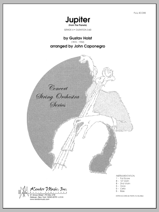 Jupiter (from The Planets) (COMPLETE) sheet music for orchestra by Gustav Holst and Caponegro. Score Image Preview.