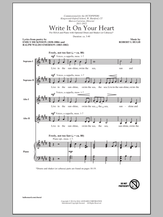 Write It On Your Heart Sheet Music