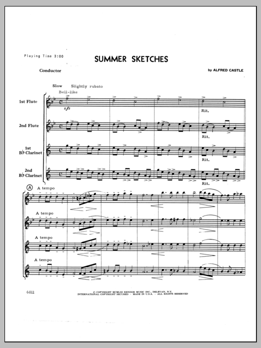 Summer Sketches (COMPLETE) sheet music for wind quartet by Castle. Score Image Preview.