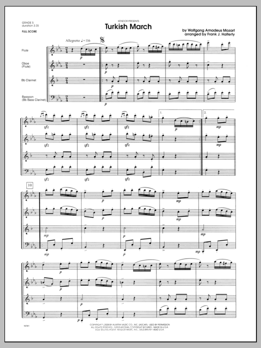 Turkish March (COMPLETE) sheet music for wind quintet by Wolfgang Amadeus Mozart and Halferty. Score Image Preview.