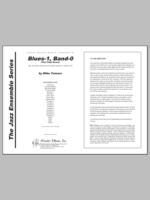Blues-1, Band-0 (The Final Score) (COMPLETE) sheet music for jazz band by Tomaro. Score Image Preview.