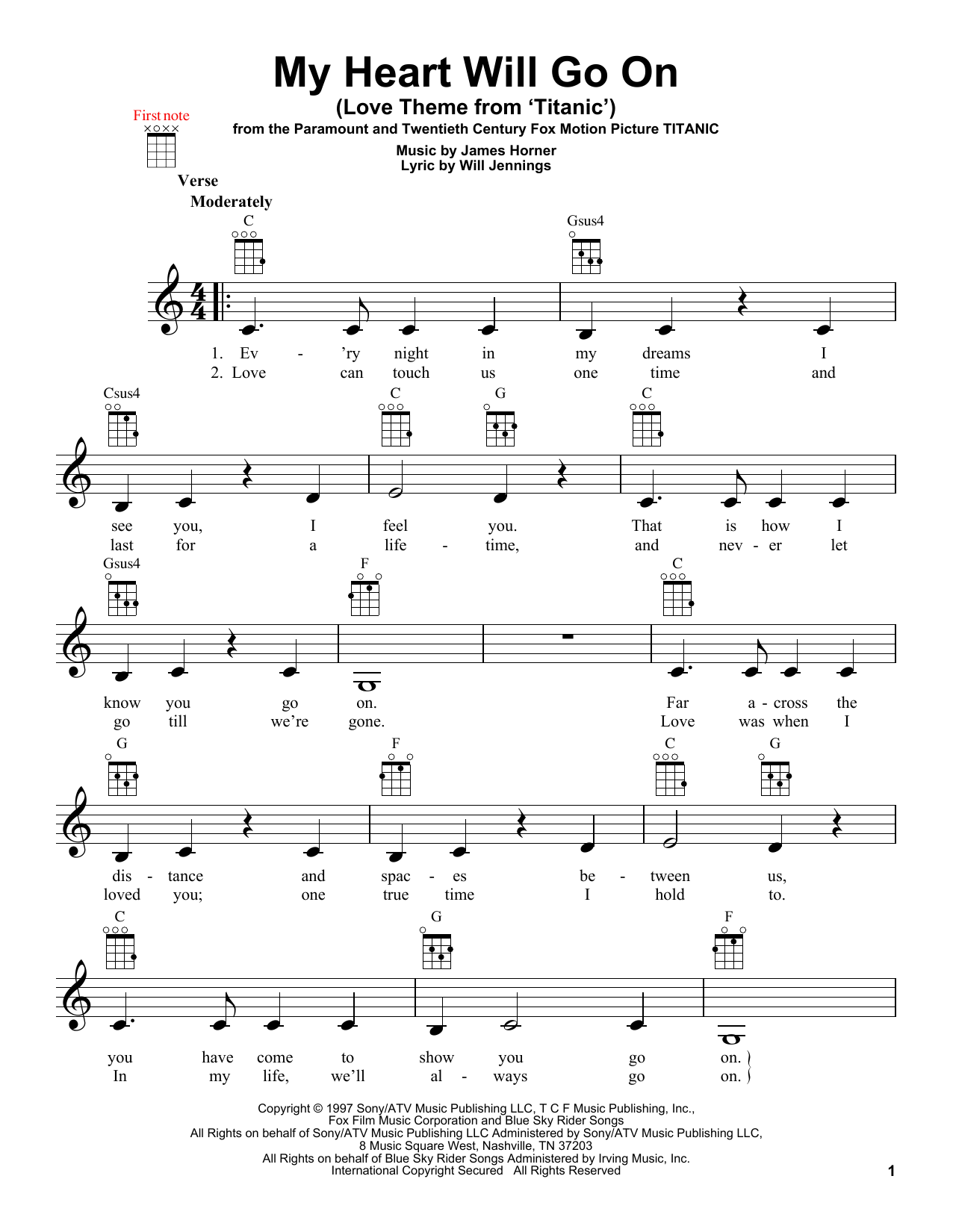 Tablature guitare My Heart Will Go On (Love Theme From 'Titanic') de Celine Dion - Ukulele