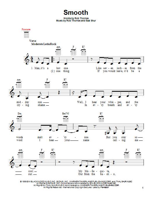 Tablature guitare Smooth de Santana featuring Rob Thomas - Ukulele