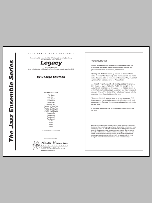 Legacy (COMPLETE) sheet music for jazz band by Shutack. Score Image Preview.