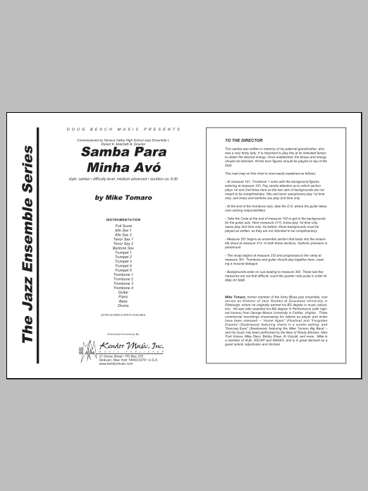 Samba Para Minha Avo (COMPLETE) sheet music for jazz band by Tomaro. Score Image Preview.