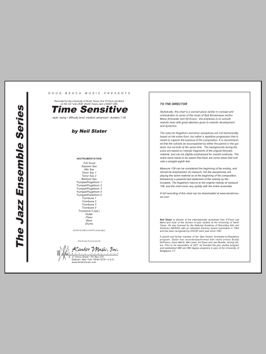 Time Sensitive (COMPLETE) sheet music for jazz band by Slater. Score Image Preview.