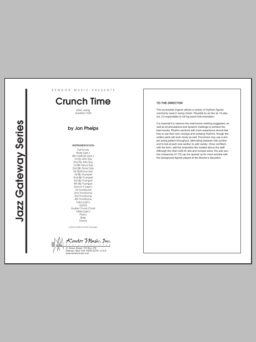 Crunch Time (COMPLETE) sheet music for jazz band by Phelps. Score Image Preview.