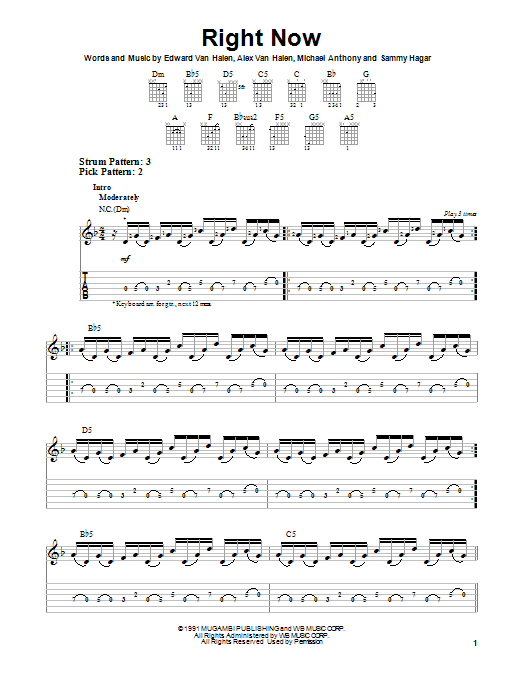 Right Now Sheet Music