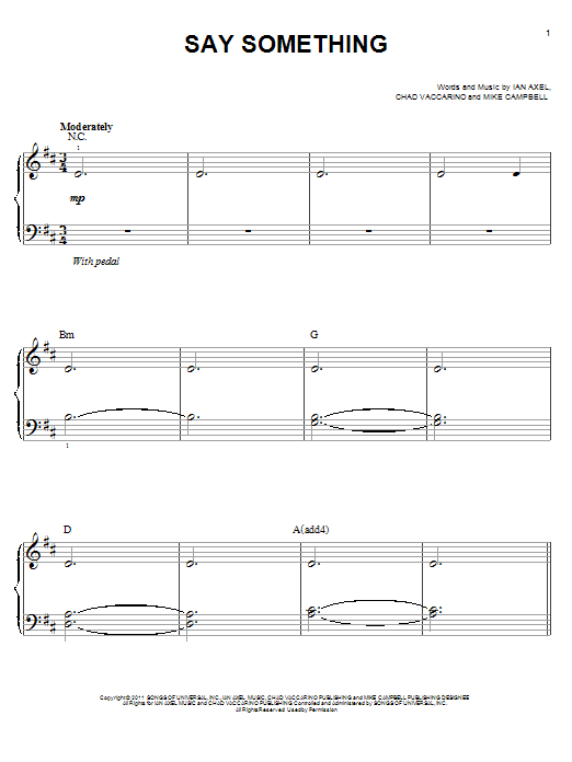 Piano say something piano chords easy : Say Something sheet music by A Great Big World and Christina ...