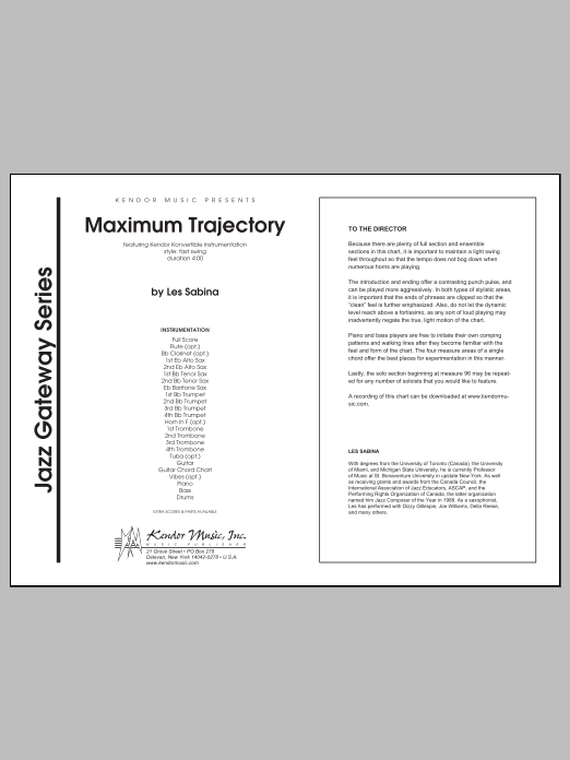 Maximum Trajectory (COMPLETE) sheet music for jazz band by Sabina. Score Image Preview.