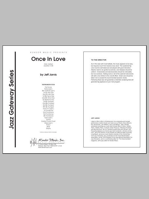 Once In Love (COMPLETE) sheet music for jazz band by Jarvis. Score Image Preview.