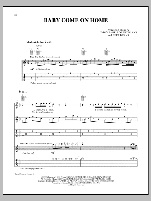 Baby Come On Home Sheet Music