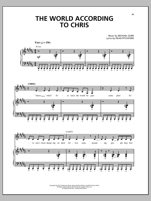 The World According To Chris Sheet Music