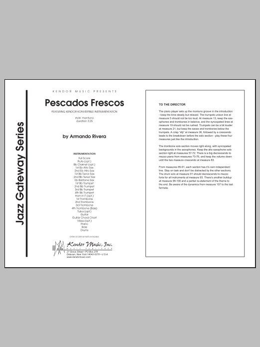 Pescados Frescos (COMPLETE) sheet music for jazz band by Rivera. Score Image Preview.