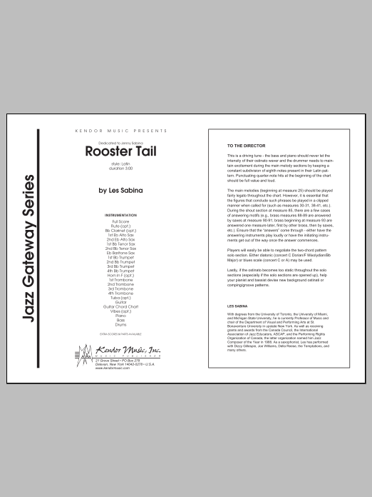 Rooster Tail (COMPLETE) sheet music for jazz band by Les Sabina. Score Image Preview.