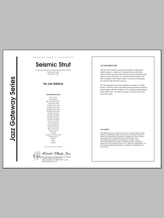 Seismic Strut (COMPLETE) sheet music for jazz band by Les Sabina. Score Image Preview.