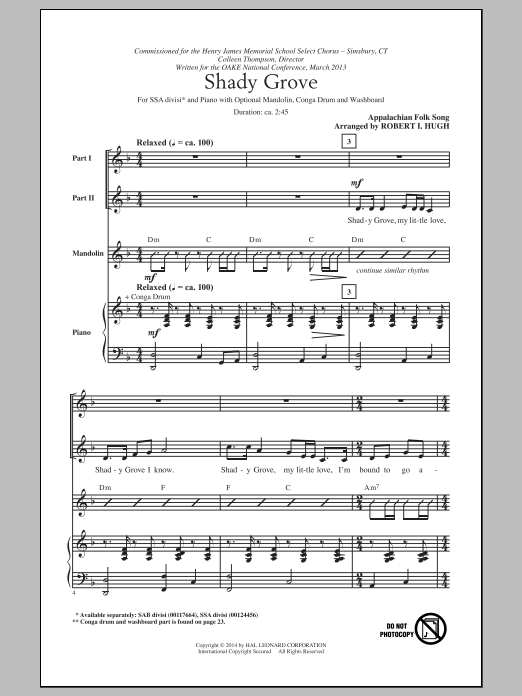 Shady Grove (arr. Robert I. Hugh) Sheet Music