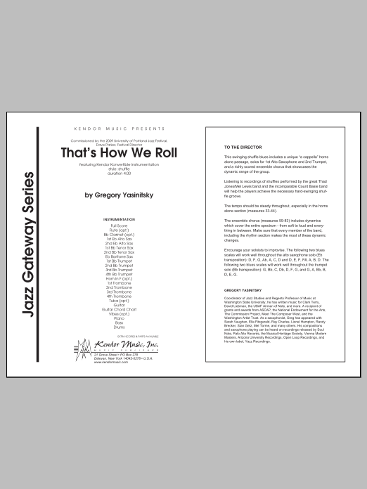 That's How We Roll (COMPLETE) sheet music for jazz band by Yasinitsky. Score Image Preview.