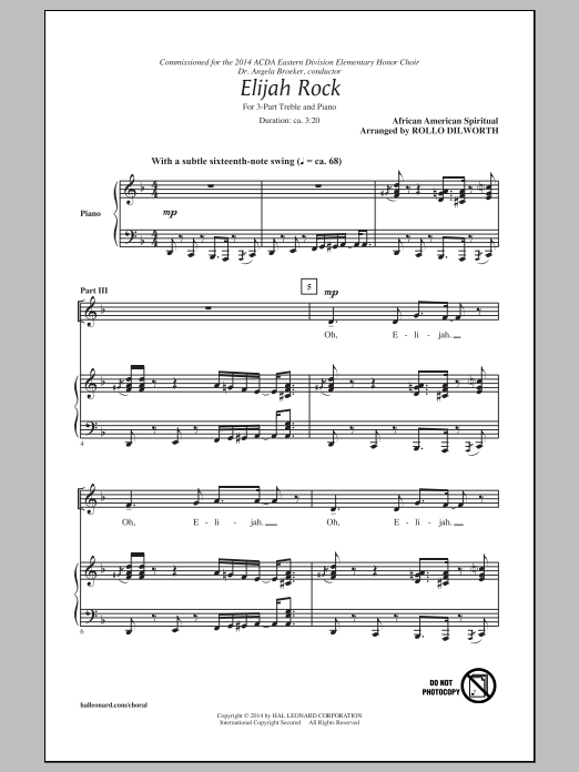Elijah Rock Sheet Music