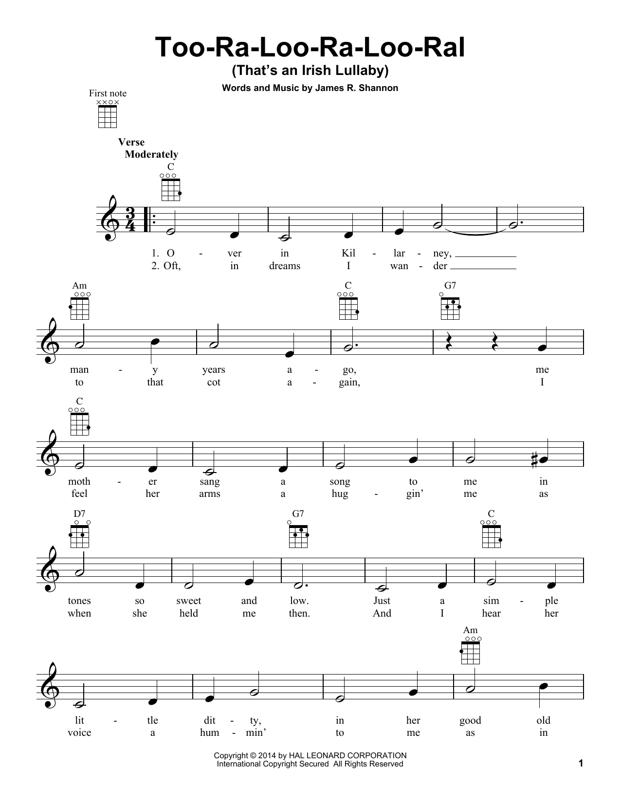 Tablature guitare Too-Ra-Loo-Ra-Loo-Ral (That's An Irish Lullaby) de James R. Shannon - Ukulele
