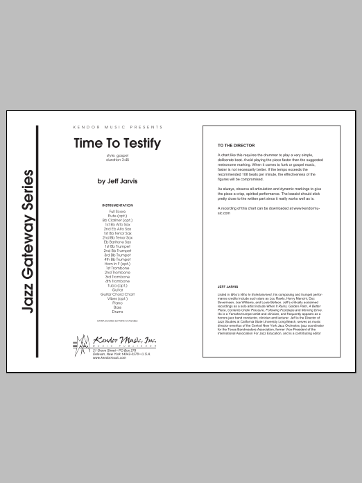 Time To Testify (COMPLETE) sheet music for jazz band by Jarvis. Score Image Preview.
