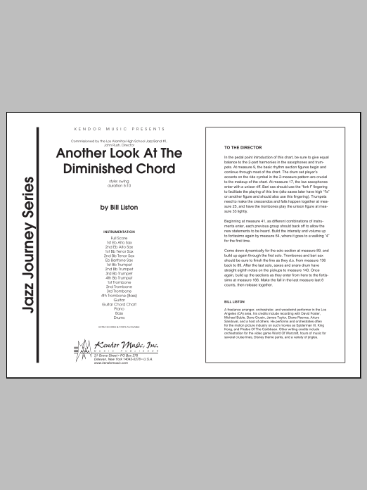 Another Look At The Diminished Chord (COMPLETE) sheet music for jazz band by Liston. Score Image Preview.