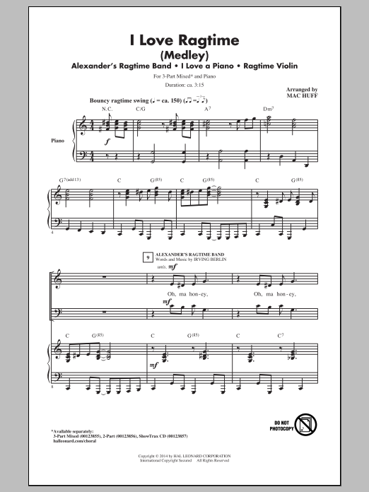 I Love Ragtime (Medley) Sheet Music