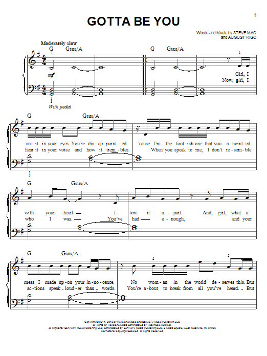 Partition piano Gotta Be You de One Direction - Piano Facile