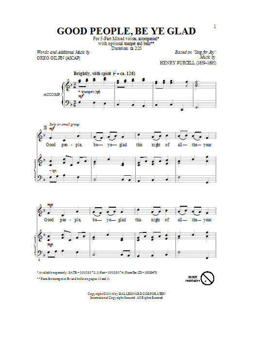 Good People, Be Ye Glad Sheet Music