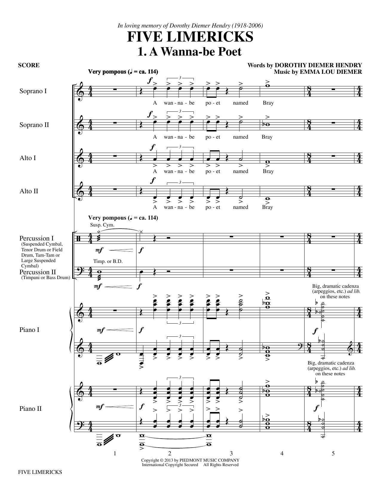 Five Limericks Sheet Music