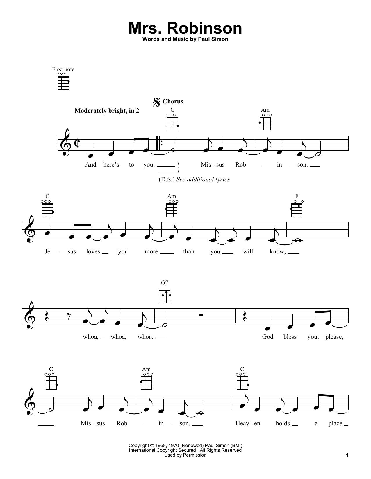 Tablature guitare Mrs. Robinson de Simon & Garfunkel - Ukulele