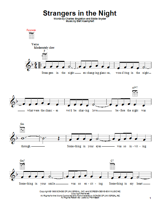 Tablature guitare Strangers In The Night de Frank Sinatra - Ukulele