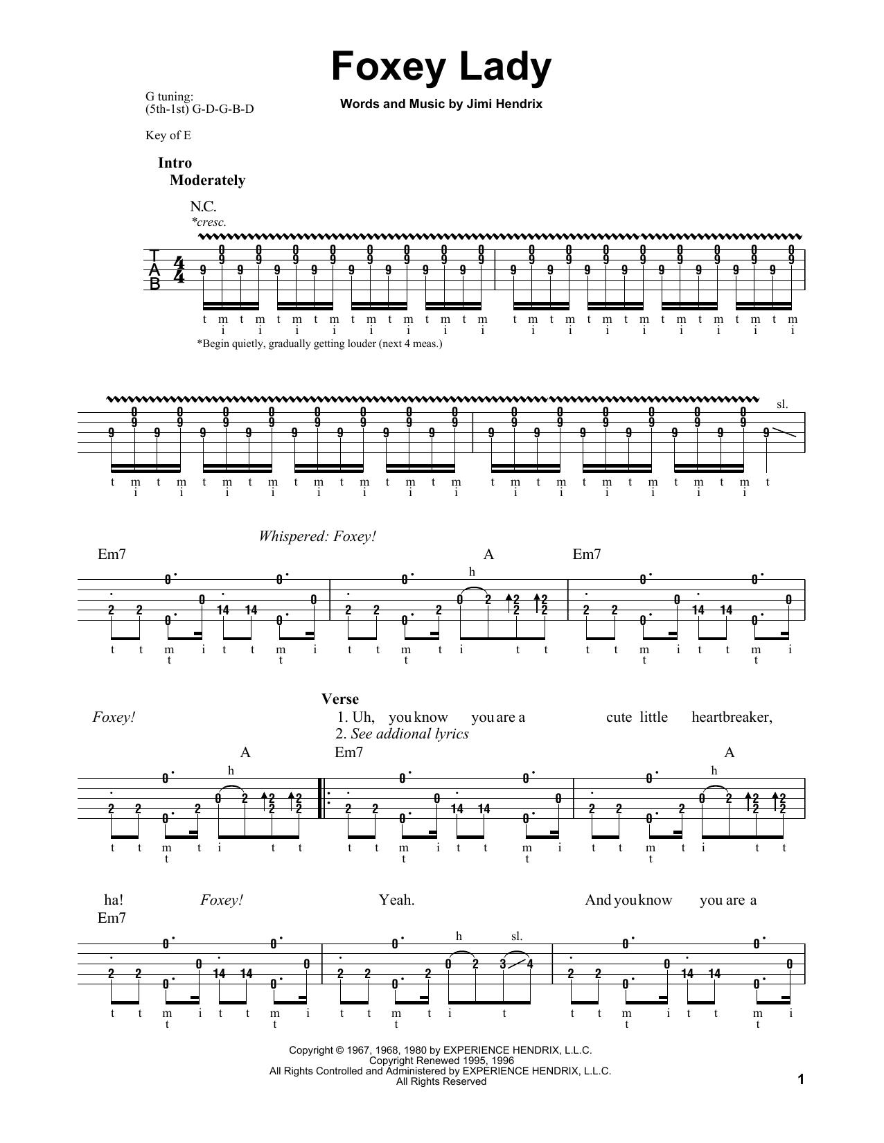 Foxey Lady (Banjo Tab)