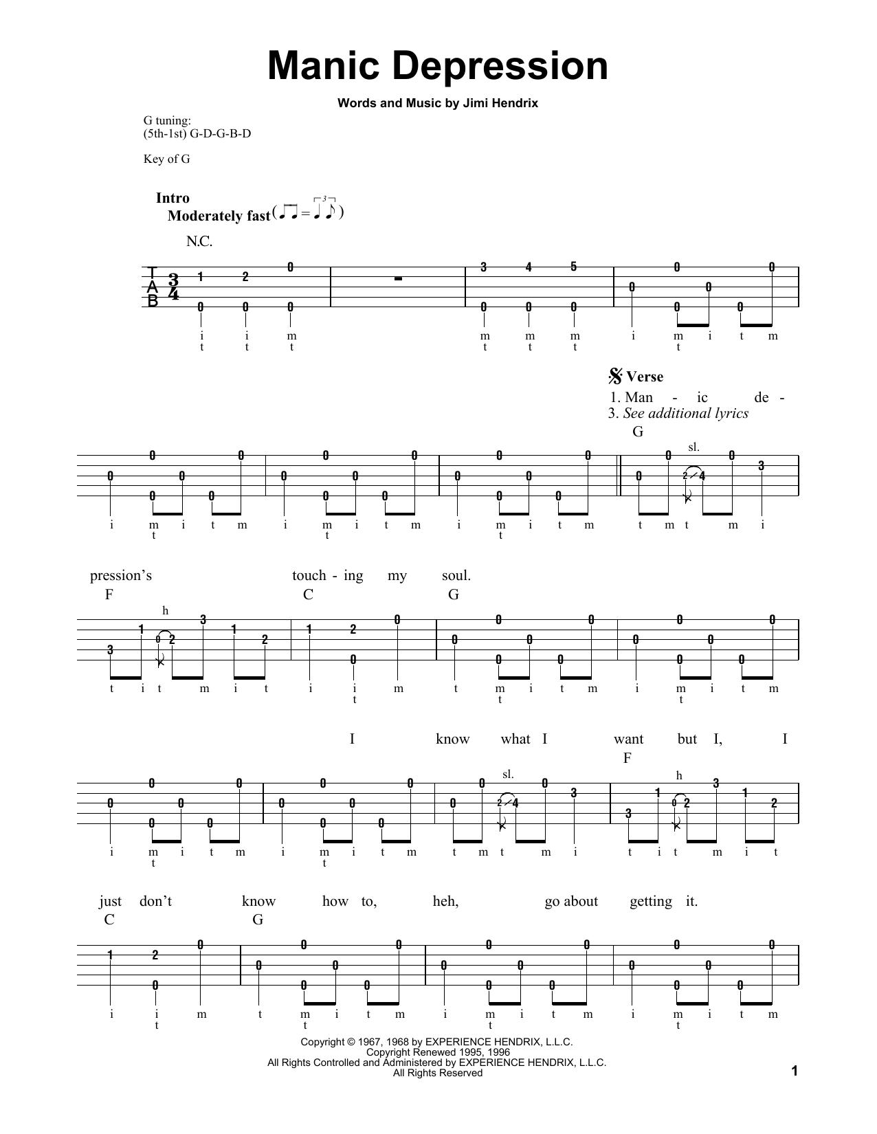 Manic Depression (Banjo Tab)
