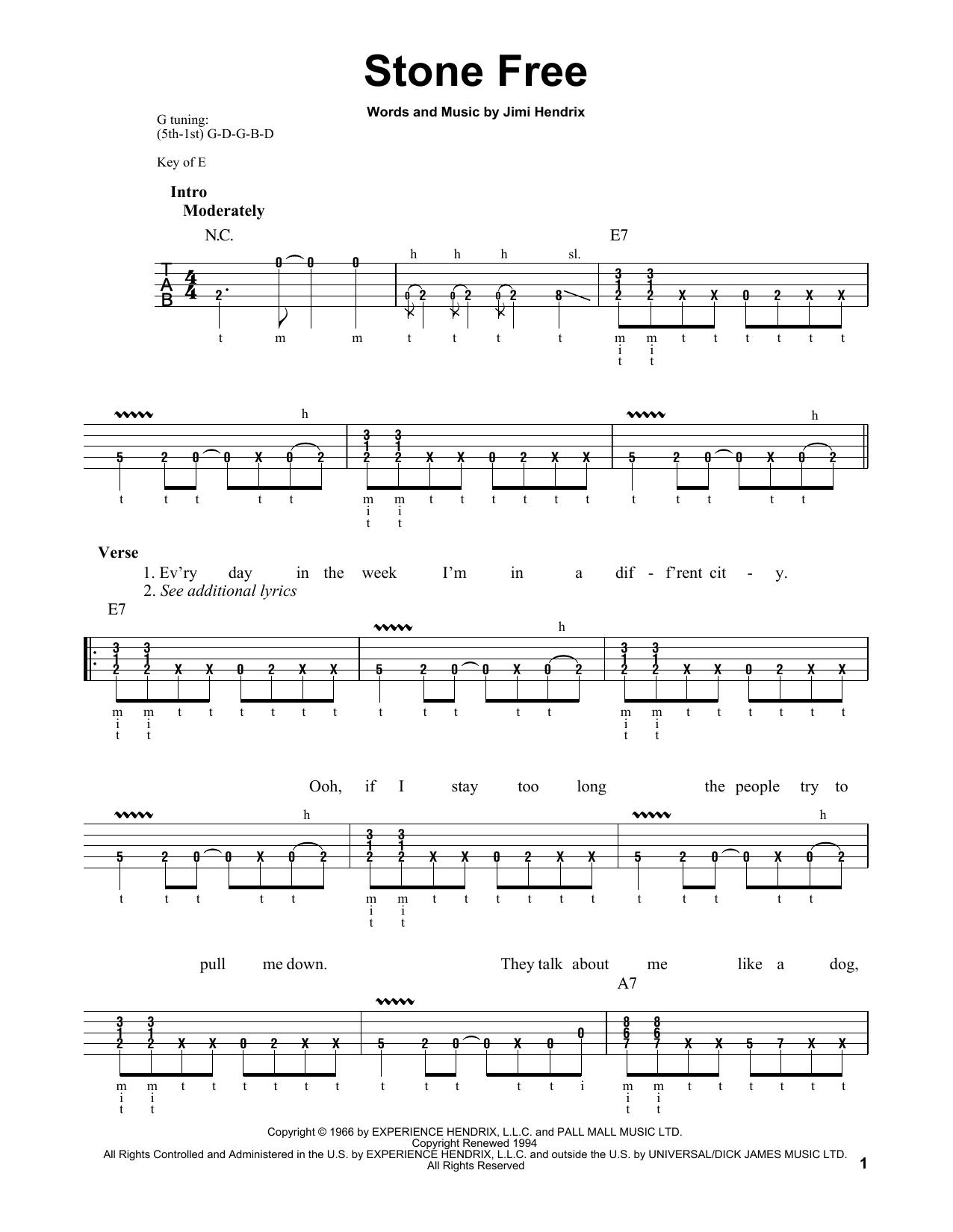 Stone Free (Banjo Tab)