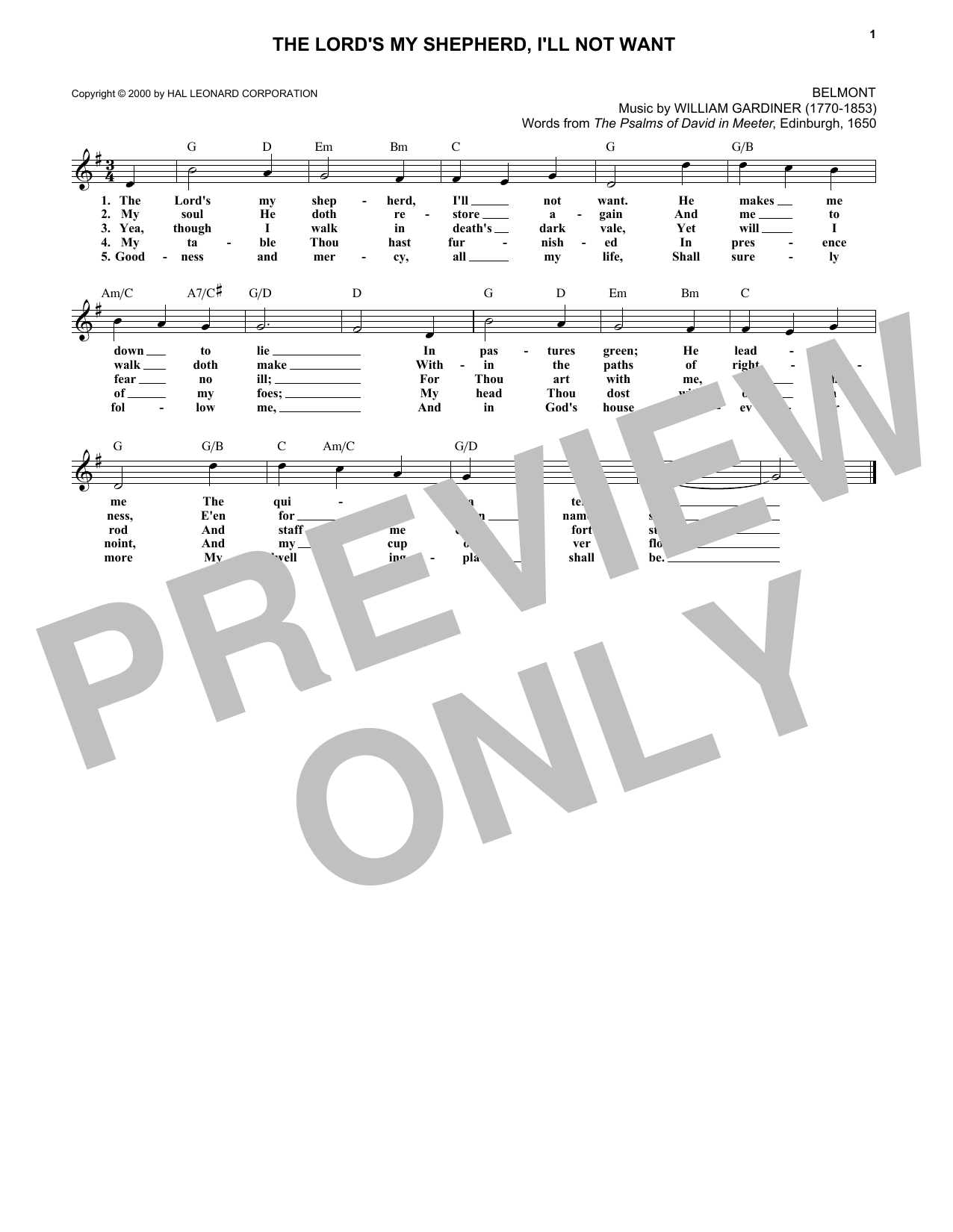 The Lord's My Shepherd, I'll Not Want (Lead Sheet / Fake Book)
